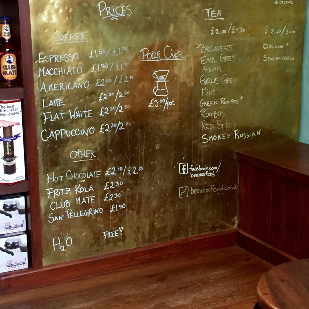 Brew Oxford - Menu and Prices