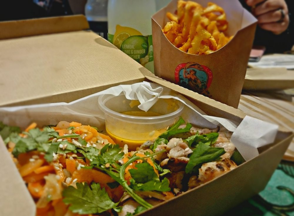 LEON x Gizzi Chicken Satay Salad & Baked Fries