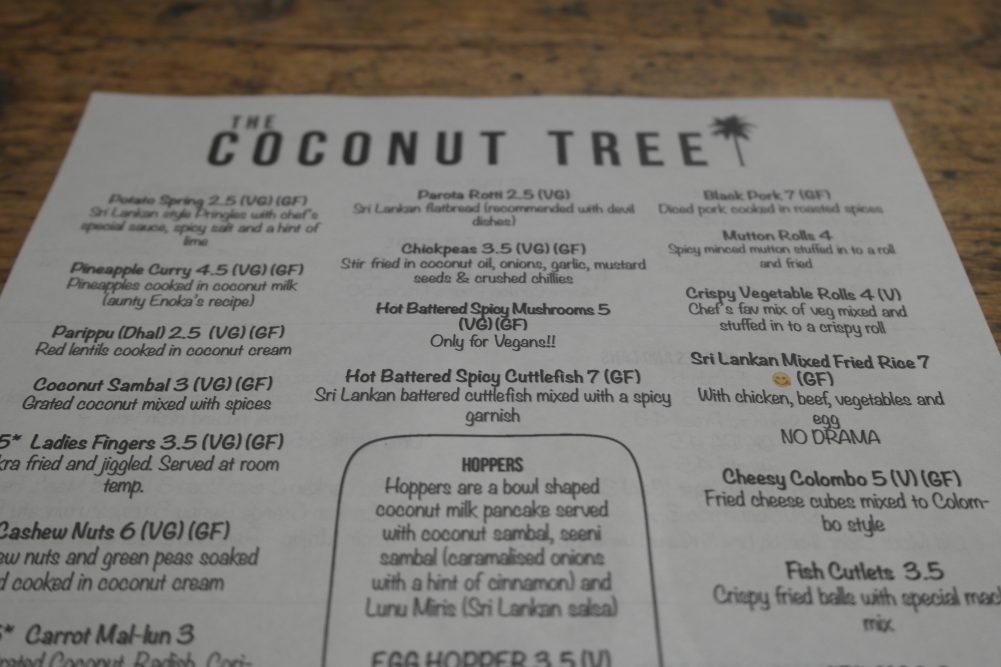 Coconut Tree Oxford Menu