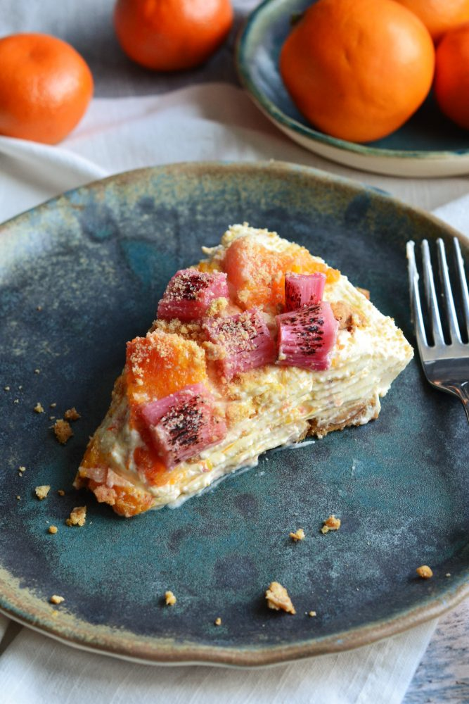 Seasonal Recipe February Orange and Rhubarb Cheesecake