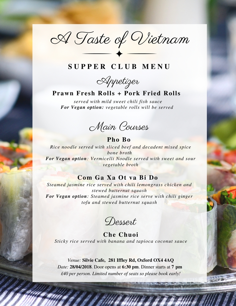 A Taste of Vietnam Supper Club Menu