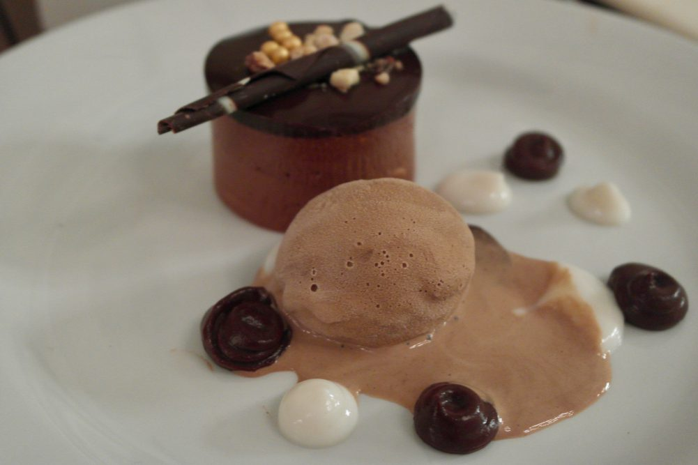 Chocolate pave, espresso ice cream and Witney coffee syrup
