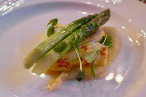 Hertford College Kitchen Saffron & Arbequina Olive Oil Poached Halibut, Asparagus & Jerusalem Artichoke Puree
