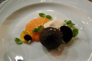 Hertford College Kitchen Baked Chocolate Ganache, Set Vanilla & Citrus Yogurt, Poached Tangerine