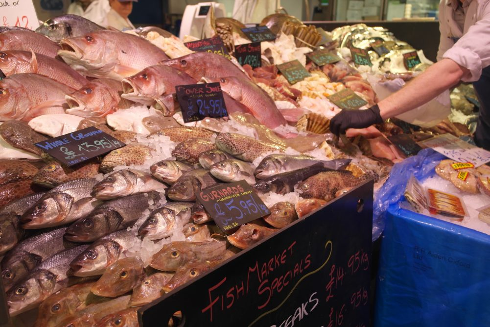 Fresh fish display at Osney Food Shed Haymans Fishmarket | Image Credit Bitten Oxford