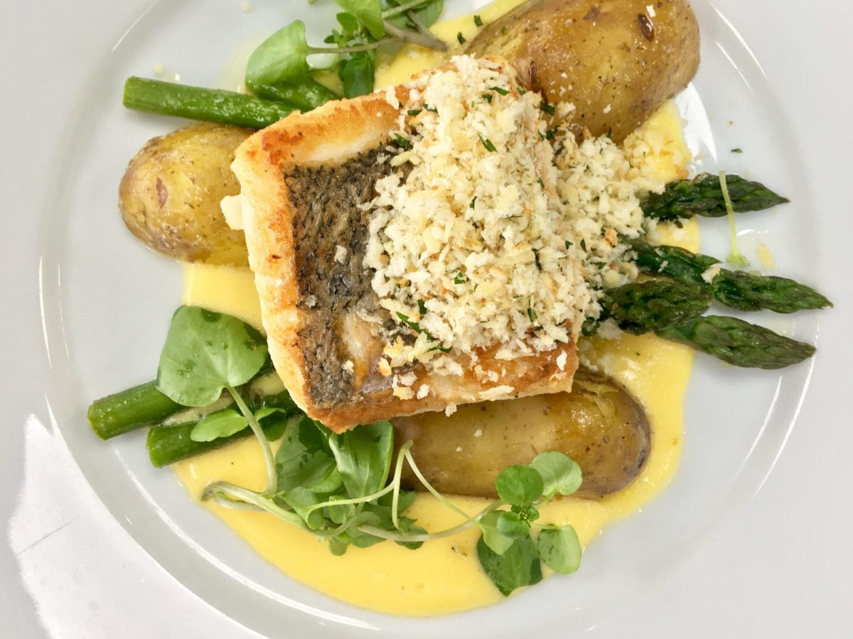 Osney Food Shed Pan Roasted Hake with Asparagus, Jersey Royals, Hollandaise and Tarragon Crumbs | Image Credit Bitten Oxford