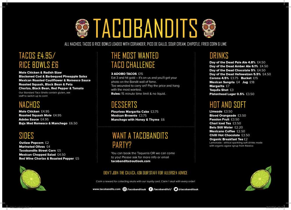Taco Bandits Menu